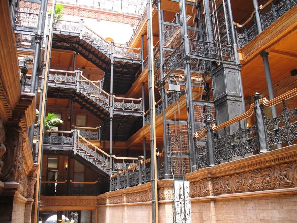 Interior of the Bradbury Building, Los Angeles.  Source:  Luke Jones, flickr.com.
