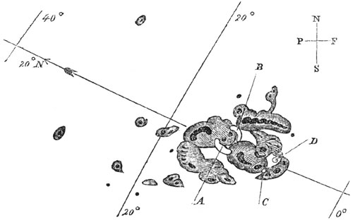 Carrington's sketch of the sunspot observed on Sept 1., 1859.  Solar flares observed at points A & C moved to points B & D in 5 minutes.