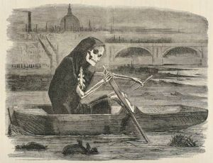 Death rowing on a putrid Thames surrounded by miasma.