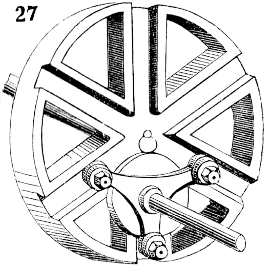 """Multiple gearing""—a recent invention. The smaller triangular wheel drives the larger one by the movement of its attached friction-rollers in the radial grooves."