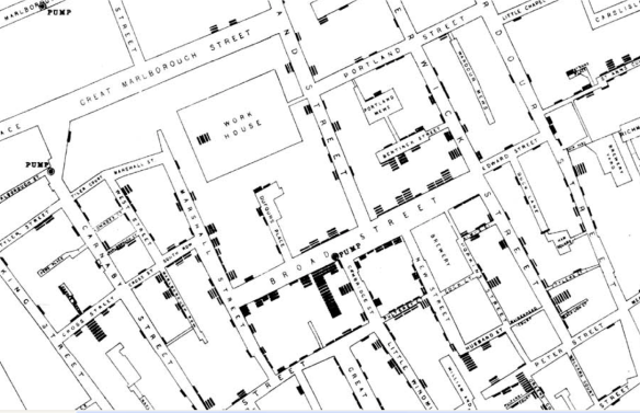 Snow's map of the locations of cholera cases during the 1854 outbreak