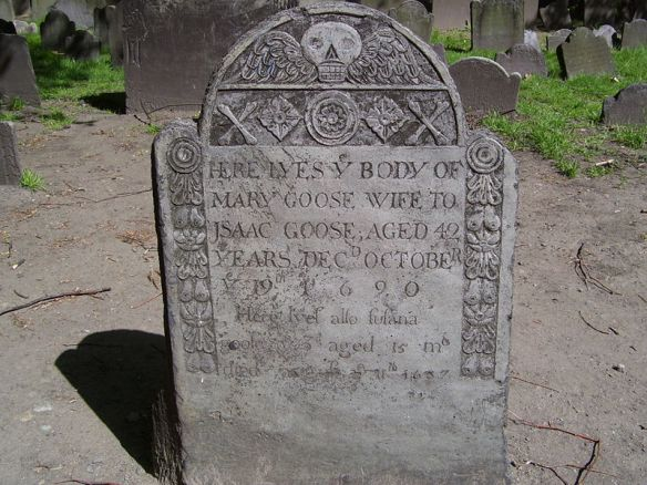 The purported grave of Mother Goose, Granary Burying Ground, Boston, Massachusetts, USA.  Source: Wikipedia user Swampyank.