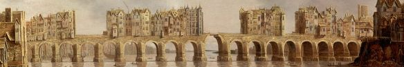 "Detail showing Old London Bridge on the 1632 oil painting ""View of London Bridge"" by Claude de Jongh."