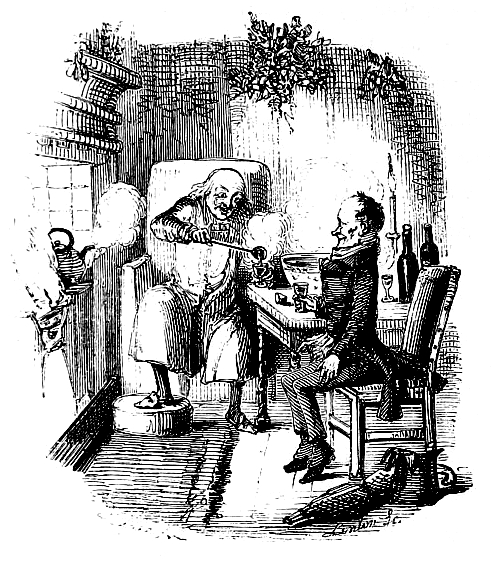 Scrooge and Bob Cratchit celebrate Christmas in an illustration from Stave Five of the original edition, 1843.