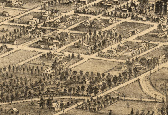 Detail from San Jose, CA panoramic map, 1869. Source: Library of Congress.