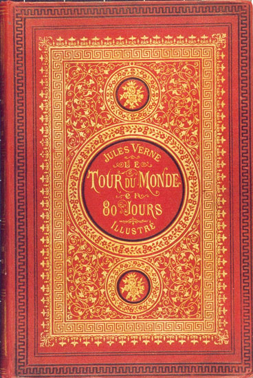 Cover of the 1873 first edition of Jules Verne's Around the World in 80 Days.