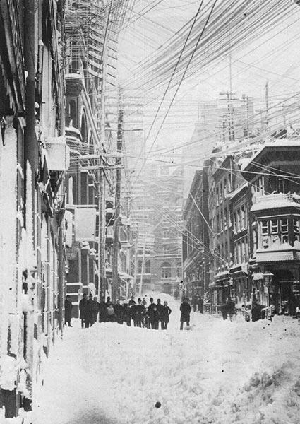 The weight of the snow snapped telegraph and telephone wires in New York City, hindering communications