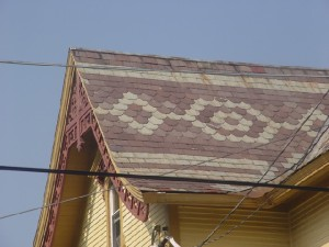 Imbrication can also be seen in colored slate roof tiles.