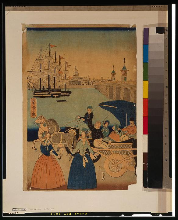 A View of the Thames by Utagawa Yoshitora, c. 1860s.  Image from the Library of Congress collection.